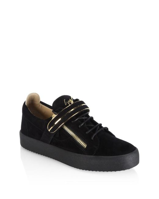 Giuseppe Zanotti Black Low Single Bar Suede Sneakers for men