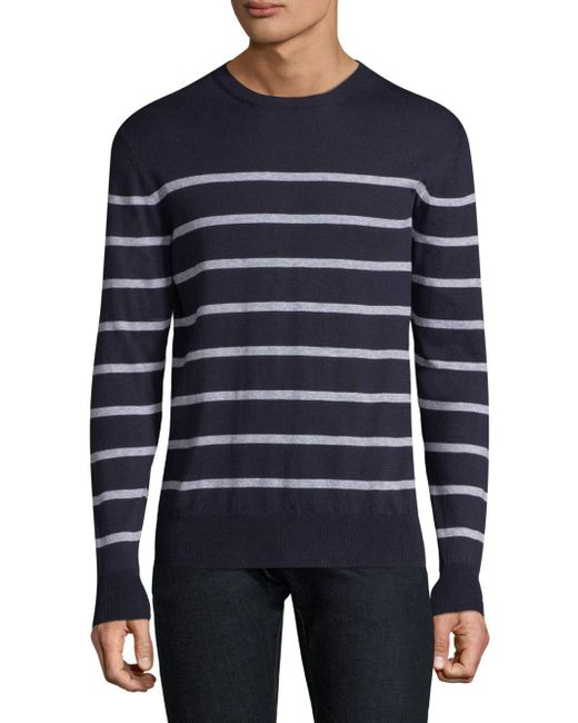 Eleventy - Blue Striped Roundneck Sweater for Men - Lyst