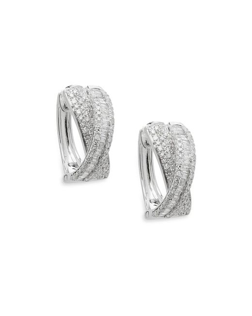 Effy - Metallic Diamond And 14k White Gold Hoop Earrings, 0.91 Tcw - Lyst