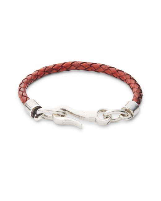 Saks Fifth Avenue - Brown Braided Leather Single Strand Bracelet - Lyst