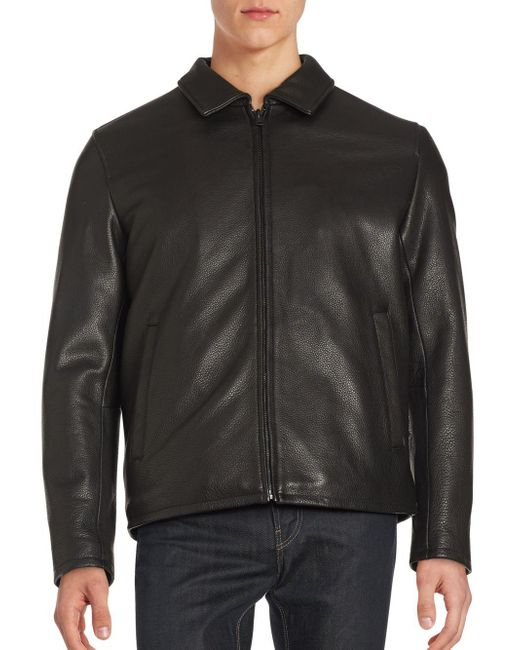 Vince Camuto - Black Solid Leather Jacket for Men - Lyst