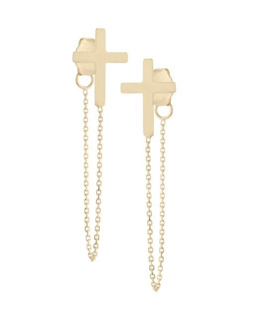 Saks Fifth Avenue Metallic Women's 14k Yellow Gold Cross Chain Front-back Earrings