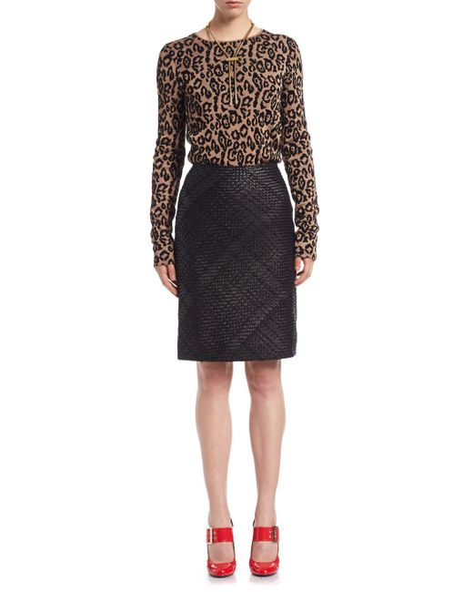 Lanvin - Black Whipstitch Leather Pencil Skirt - Lyst