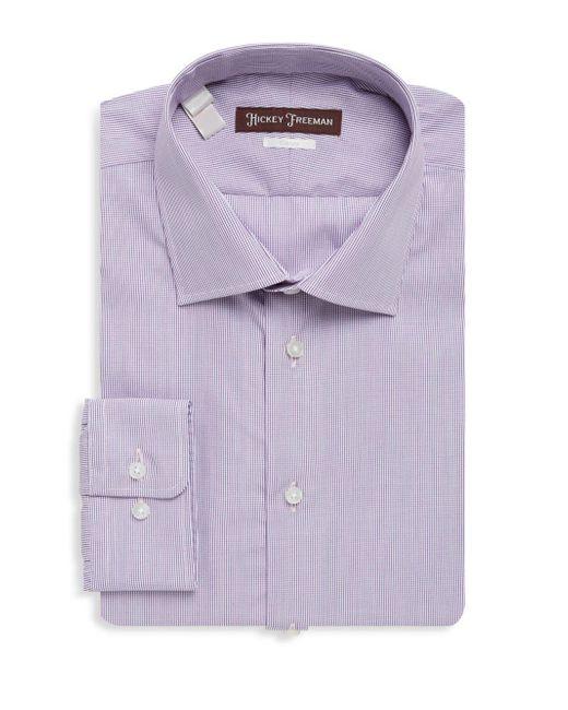 Hickey Freeman | Purple Mini Check Cotton Dress Shirt for Men | Lyst