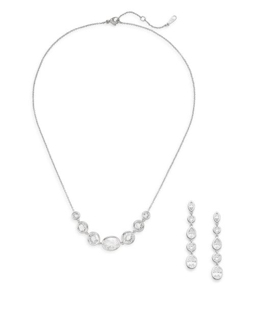 Adriana Orsini - Metallic White Stone Necklace & Earrings Gift Box Set/silvertone - Lyst