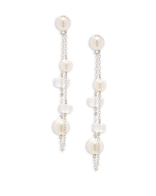 Belpearl - 6.5-9mm Semi-round Freshwater Pearl, Moonstone & 14k White Gold Dangle Earrings - Lyst