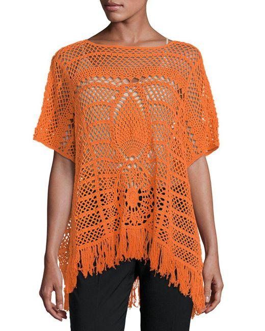 Trina Turk - Orange Kimber Cotton Poncho - Lyst