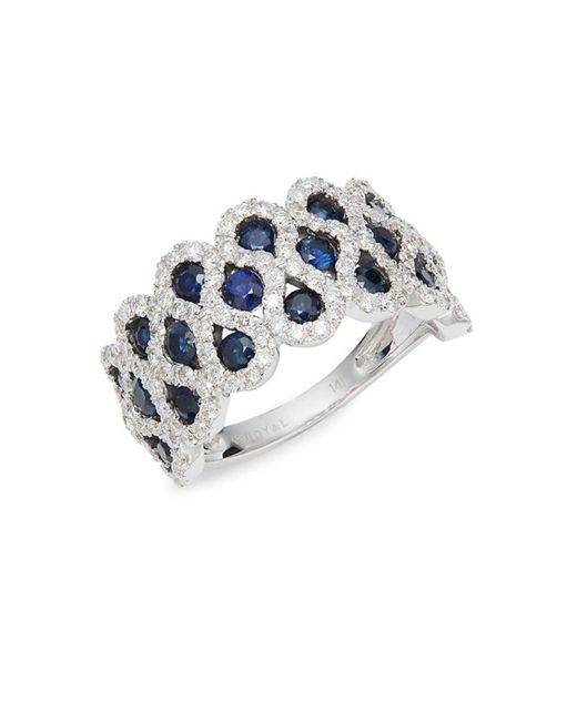 Saks Fifth Avenue Metallic Women's 14k White Gold, Sapphire & Diamond Ring/size 7 - Size 7
