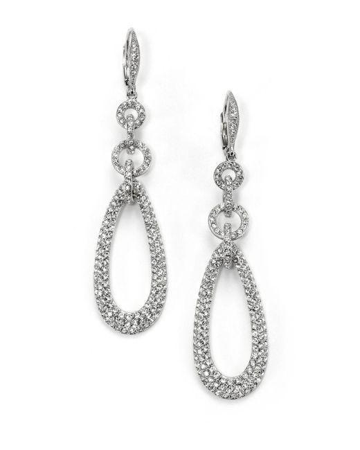 Adriana Orsini - Metallic Pavà Chain Link Teardrop Earrings - Lyst