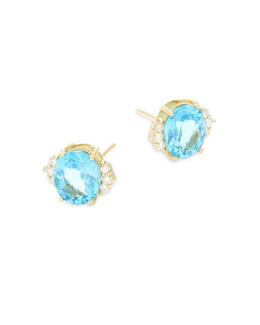 Judith Ripka - Flora Diamond, Swiss Blue Topaz & 18k Yellow Gold Stud Earrings - Lyst