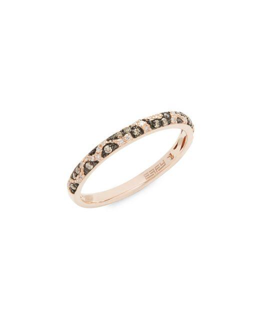 Effy - Metallic Diamond And 14k Rose Gold Ring - Lyst
