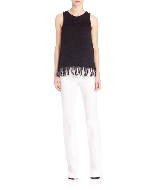 Tess Giberson - Black Cotton Knit Weave Fringe Top - Lyst