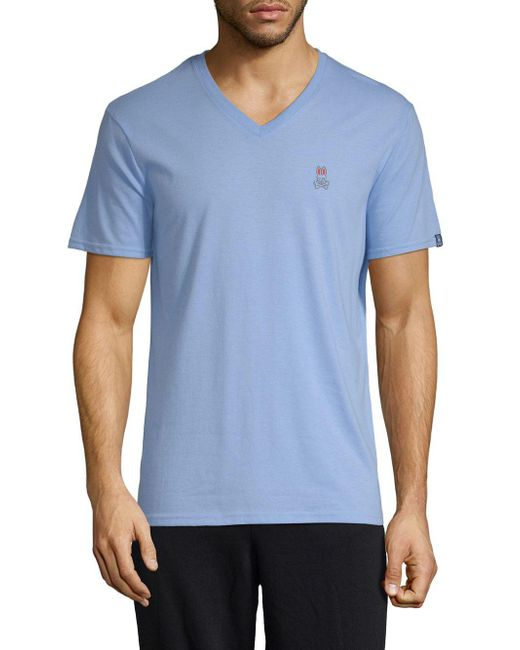 Psycho Bunny - Blue Heathered V-neck Lounge Tee for Men - Lyst