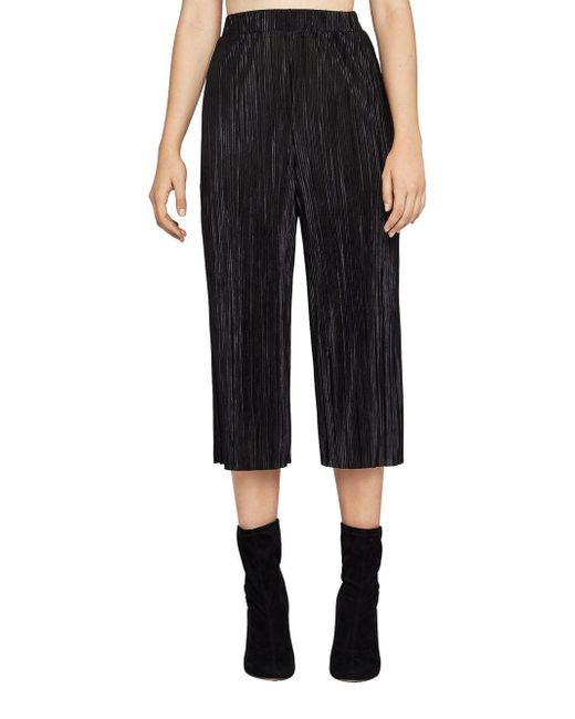 BCBGeneration - Black Pleated Plisse Gaucho Pants - Lyst