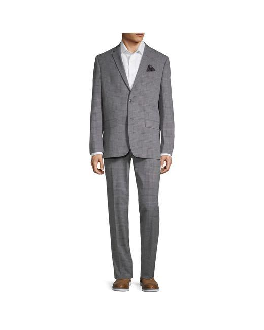 Ben Sherman Gray Slim-fit Plaid Notch Lapel Suit for men