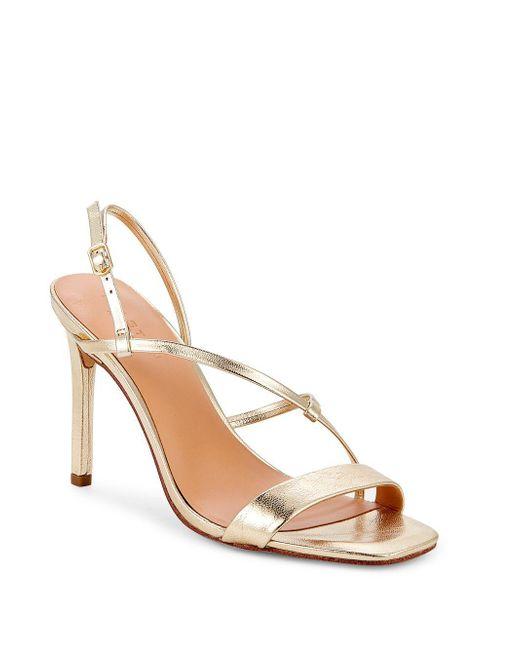 a89b9d50fba4f5 Halston Heritage - Metallic Isla Stiletto Heel Leather Sandals - Lyst ...