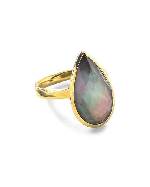Ippolita - Metallic Rock Candy Black Shell Doublet And 18k Yellow Gold Teardrop Ring - Lyst