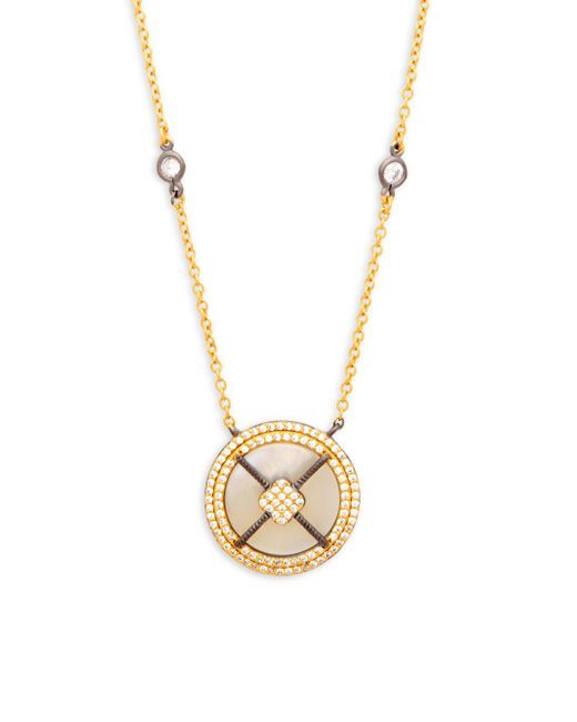 Freida Rothman - Metallic Crystal And Sterling Silver Round Pendant Necklace - Lyst