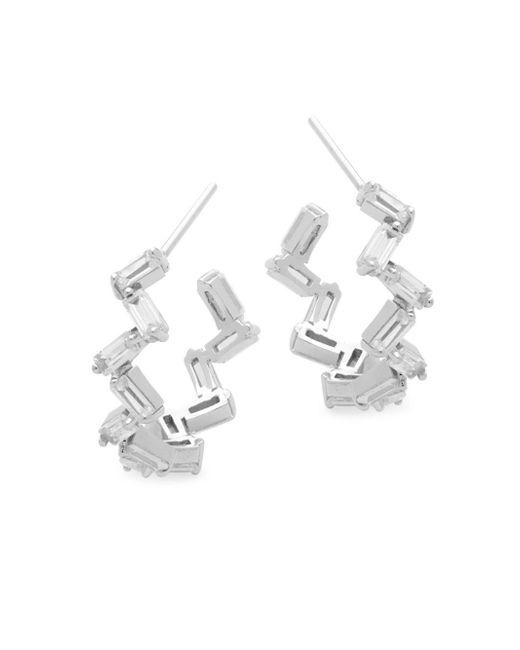 Pure Navy - Metallic Crystal & Silver Hoop Earrings - Lyst