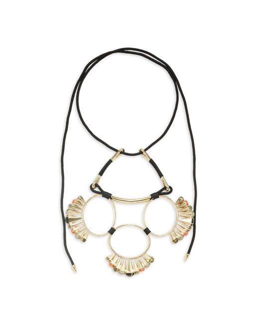 Alexis Bittar Multicolor 10k Goldplated, Mother-of-pearl, Hematite & Faux Pearl Statement Necklace