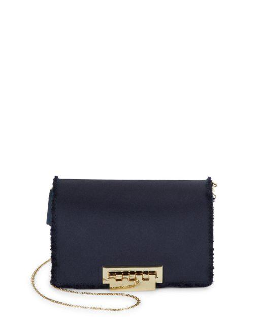 Zac Zac Posen - Blue Distressed Detail Leather Crossbody Bag - Lyst