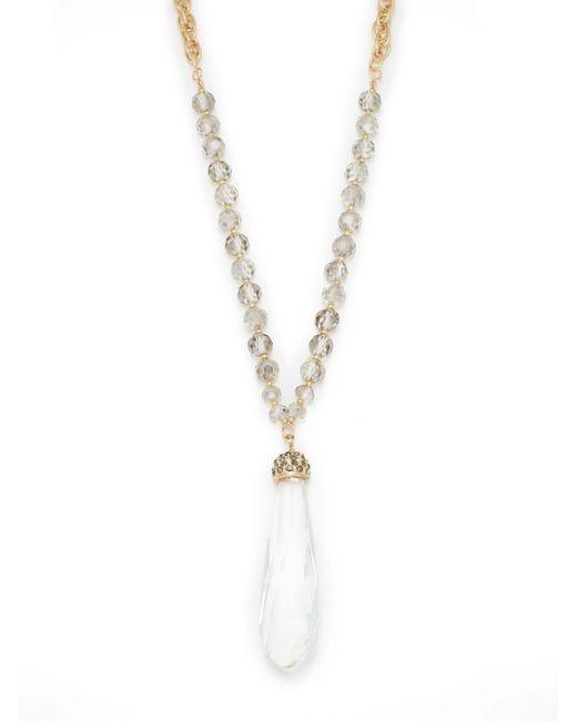 Saks Fifth Avenue - Metallic Goldtone Beaded Drop Pendant Necklace - Lyst