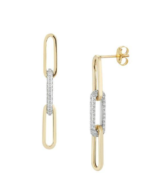Nephora Metallic Women's 14k Two-tone Gold & 0.48 Tcw Diamond Paperclip Drop Earrings