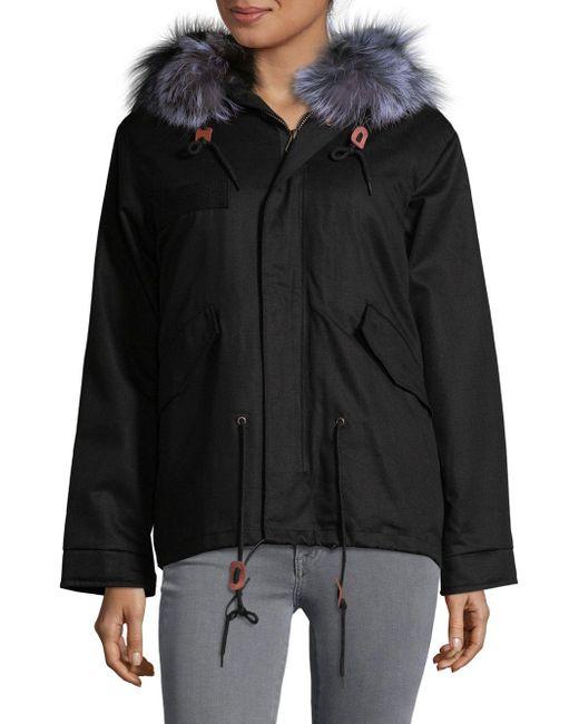 AVA & KRIS | Black Cotton Dani Dyed Fox Fur Parka | Lyst