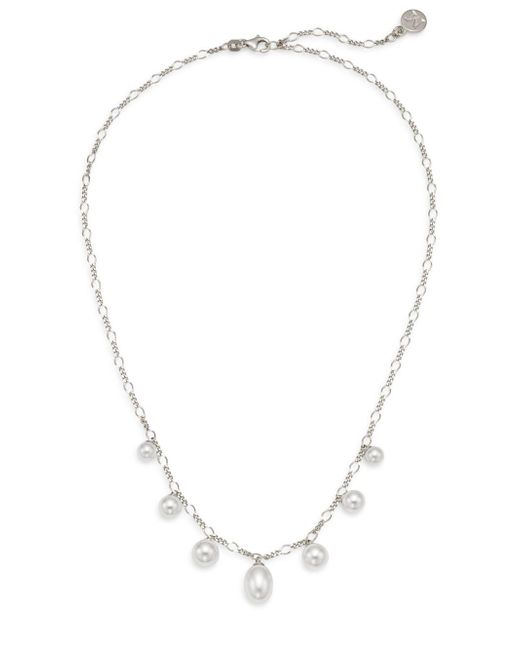 Majorica   Metallic Rain 6mm-9mm White Pearl & Sterling Silver Charm Necklace   Lyst