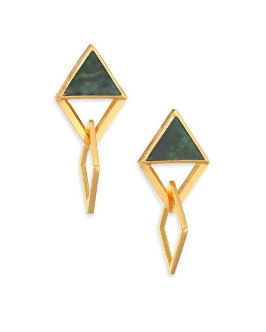 Stephanie Kantis - Multicolor Element Green Moss Agate Drop Earrings - Lyst