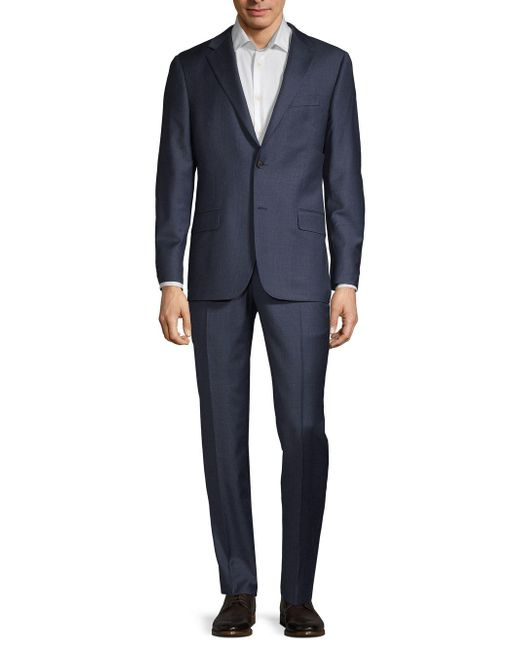 Hickey Freeman Blue Classic Fit Milburn Iim Series Tonal Plaid Wool Suit for men