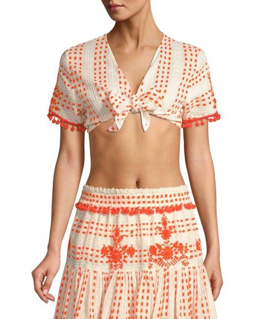 Tessora Women's Lydia Embellished Tie-front Crop Top - White Orange - Size S