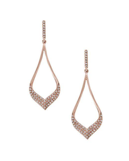 Effy - Metallic Diamond And 14k Rose Gold Dangle Earrings, 0.33 Tcw - Lyst