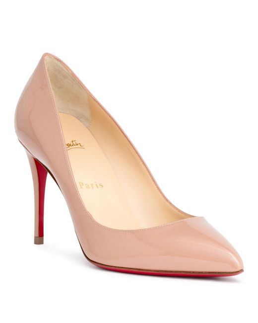 Christian Louboutin - Natural Pigalle Follies 85 Beige Patent Pumps - Lyst