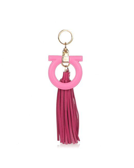 Ferragamo | Pink Leather Gancio Keyring | Lyst