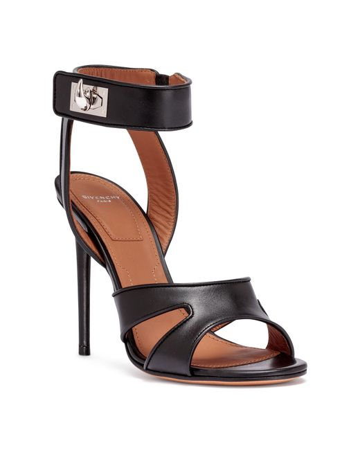 5ad8d5963591 Givenchy Black Leather Shark-lock Sandals in Black - Lyst