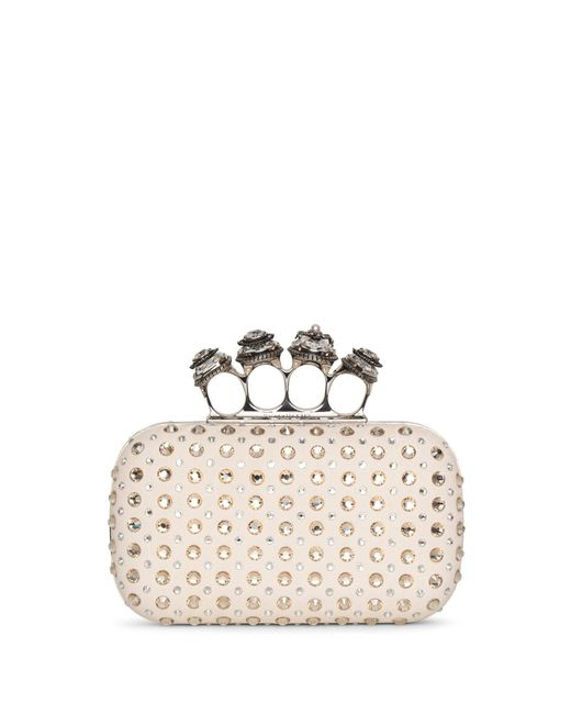 Alexander McQueen Natural Jewelled Spider Four Ring Clutch