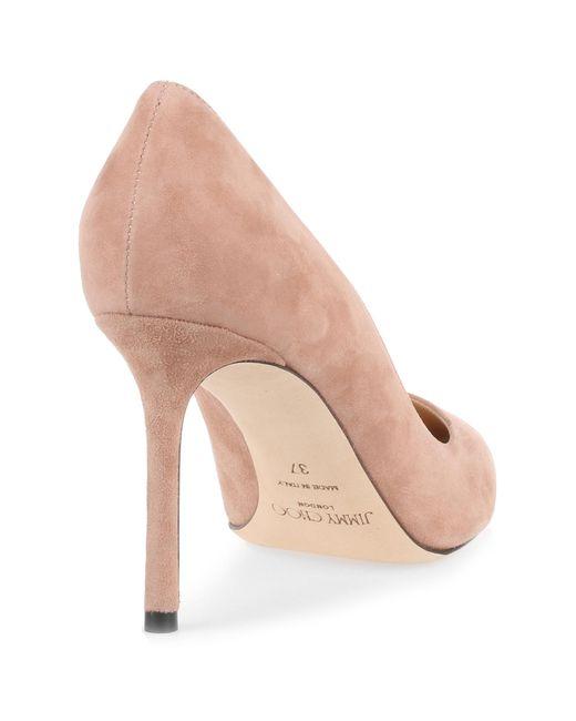 53d468686b6 ... top quality jimmy choo romy 85 ballet pink suede pump us lyst 36098  305ac