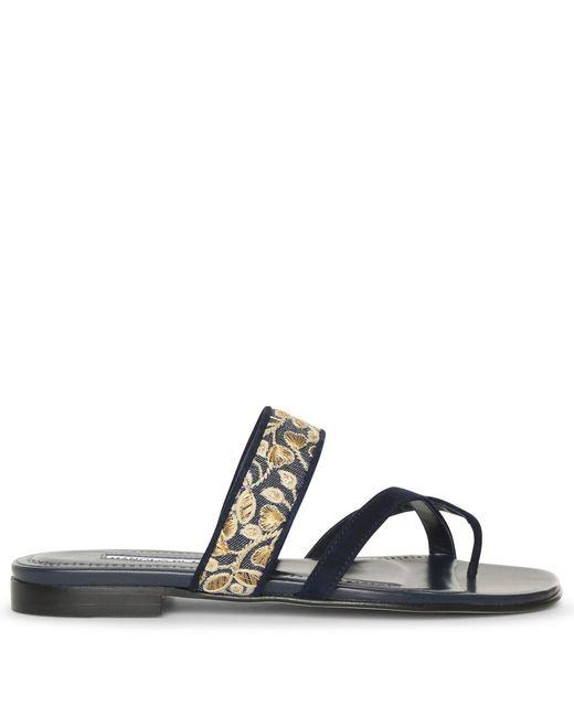 Manolo Blahnik Blue Susaperf Brocade Flat Sandals