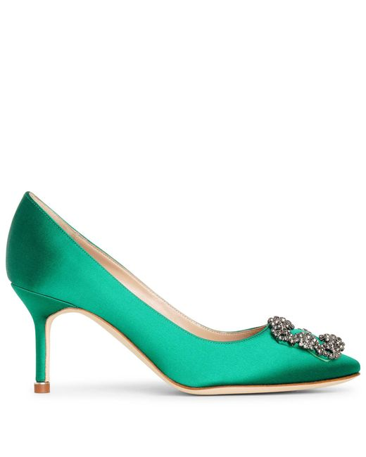 Manolo Blahnik Green Hangisi 70 Emerald Satin Pumps