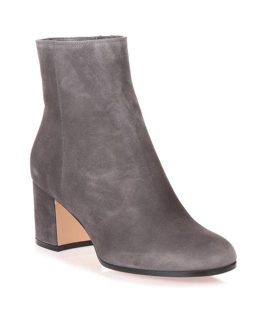 Gianvito Rossi - Gray Margaux Grey Suede Heel Ankle Boot - Lyst