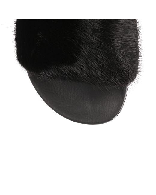 2bda4223a12a Lyst - Givenchy Black Mink Slide Sandal in Black