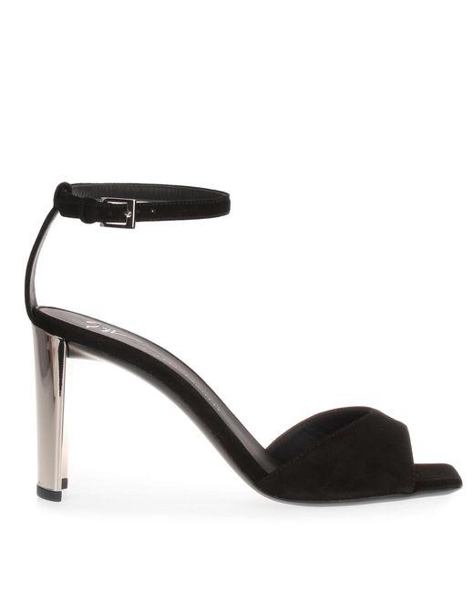 Giuseppe Zanotti Black Suede Metallic Heel Sandal Us