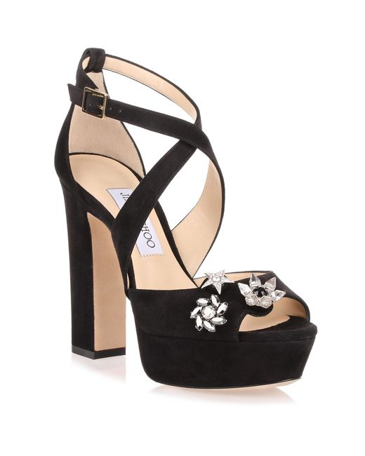 Jimmy Choo | Janet Black Suede Sandal With Jewelled Buttons Us | Lyst