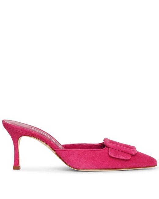Manolo Blahnik Maysale 70 Pink Suede Mule Pumps