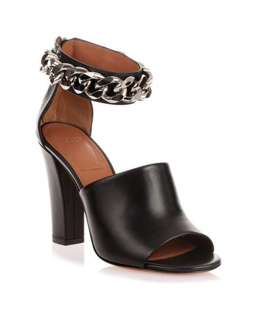 Givenchy - Black Leather Chain Sandal Us - Lyst