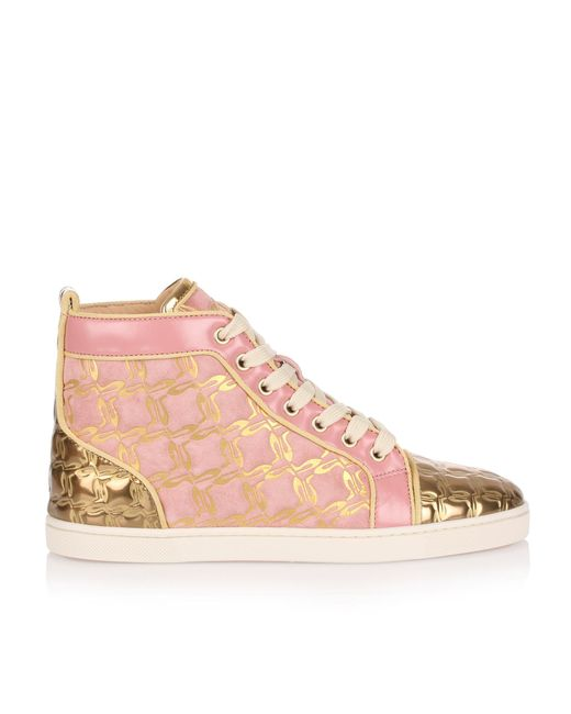 shop the sale of shoes outlet online Christian Louboutin Bip Bip Pink And Gold Suede Sneaker Us - Lyst