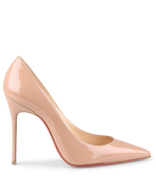 85ad832172f ... Christian Louboutin - Natural Decollete 554 100 Beige Patent Leather  Pump - Lyst ...