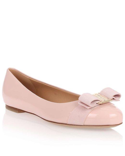 Ferragamo | Pink Varina Patent Leather Ballerinas | Lyst