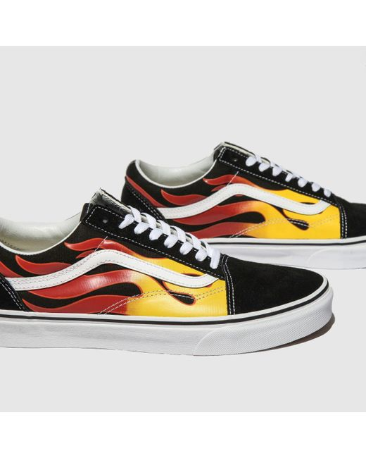 Vans Suede Black \u0026 Red Old Skool Flame